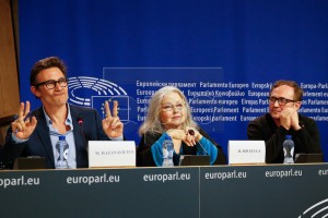 "Director Michel Hazanavicius (L), German actress Hanna Shygulla (C) and Polish actor Andrzej Chyra attends the""For A Thousand Lives: Be Human"" Conference at the European Parliament in Brussels, Belgium, 20 October 2015 EPA/LAURENT DUBRULE"