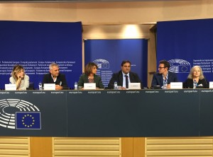 "Valeria Bruni Tedeschi, Laurent Cantet, Michel Hazanavicius and Hanna Schygulla of the delegation of ""For a Thousand lives: Be human"" at the European Parliament, 20th of October 2015"