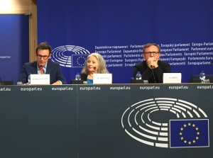 "Michel Hazanavicius, actress Hanna Shygulla and Polish actor Andrzej Chyra are in the delegation of the conference ""For A Thousand Lives: Be Human."" at the European Parliament, 20th of October 2015"